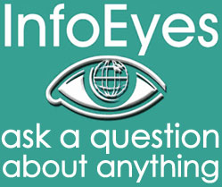 Info Eyes logo; green background; large size; Ask a question about anything