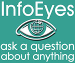 Info Eyes logo; green background; small size; Ask a question about anything
