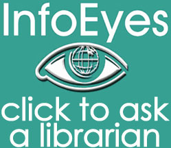 Info Eyes logo; green background; large size; Click to ask a librarian