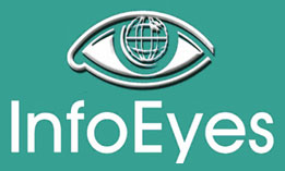 Info Eyes logo; green background; large size; vertical
