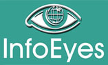 Info Eyes logo; green background; small size; vertical