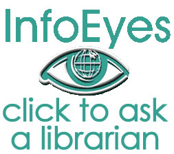 Info Eyes logo; white background; large size; Click to ask a librarian