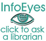 Info Eyes logo; white background; small size; Click to ask a librarian